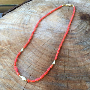 VINTAGE . CORAL BRANCH + PEARL . NECKLACE